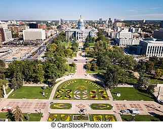 Colorado State Capitol building in Denver aerial