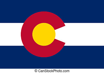 Elegant ... Colorado State Flag Of America, Isolated On White.