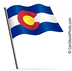 colorado state flag waving on flagpole vector