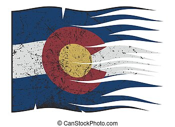 Colorado State Flag Wavy And Grunged