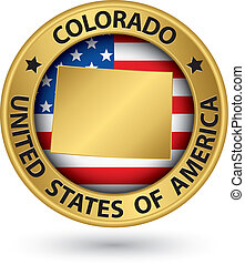 Colorado state gold label with state map, vector illustration