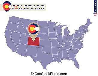 Colorado State on USA Map. Colorado flag and map.
