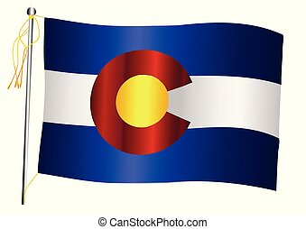 Colorado State Waving Flag And Flagpole