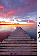 Colorado sunrise on a fishing dock