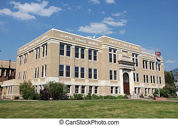 Colorado, USA. Routt County Courthouse in Steamboat Springs.