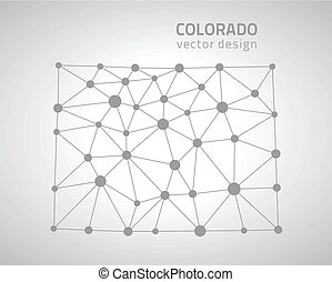 Colorado vector outline map, U.S.A. state