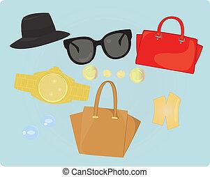 colorare, accessori, moda