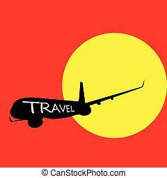 colorare, aeroplano, vettore, viaggiare