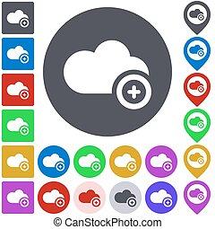 colorare, aggiungere, set, nuvola, icona