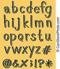 colorare, alfabeto, lettere, verde