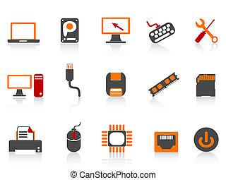 colorare, apparecchiatura, icona computer, serie