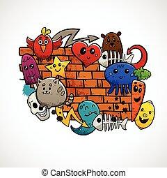 colorare, appartamento, concetto, graffito, caratteri