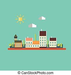 colorare, appartamento, contorni, di, il, paesaggio urbano