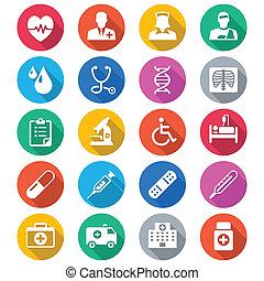 colorare, appartamento, cura, salute, icone