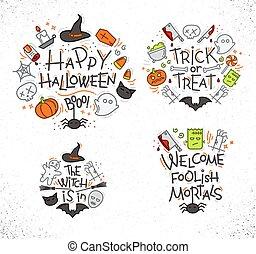 colorare, appartamento, monogrammi, halloween