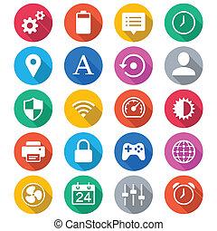 colorare, appartamento, regolazione, icone