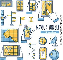 colorare, appartamento, set, navigazione, icone