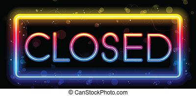 colorare, arcobaleno, neon, segno closed