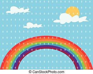 colorare, arcobaleno, sole