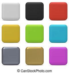 colorare, arrotondato, quadrato, bottoni, isolato, bianco, fondo.