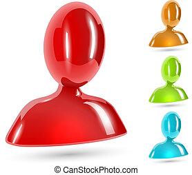 colorare, astratto, isolato, fondo., lucido, bianco, icona, utente