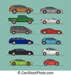 colorare, automobile, differente, set, icona