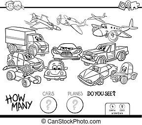 colorare, automobili, gioco, libro, piani, conteggio