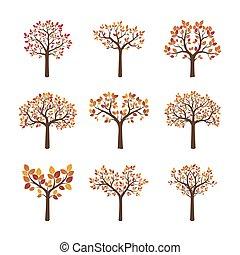 colorare, autunno, set, vettore, alberi.