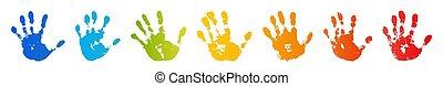 colorare, bambino, isolato, luminoso, umano, palm., design., arcobaleno, prints., vernice, handprint., dita, creativo, fondo., stampa, bianco, felice, illustrazione, mano, mani, bambini, francobollo, vettore, artistico, infanzia