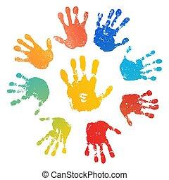 colorare, bambino, luminoso, umano, palm., design., arcobaleno, prints., vernice, handprint., isolato, creativo, fondo., stampa, bianco, felice, illustrazione, mano, sole, mani, dita, bambini, francobollo, vettore, artistico, infanzia