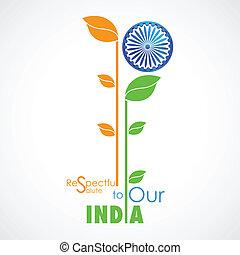 colorare, bandiera, indiano, pianta