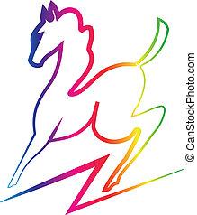 colorare, bellezza, arcobaleno, cavallo, logotipo