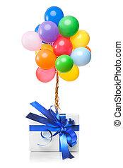 colorare, bianco, palloni, isolato, regalo