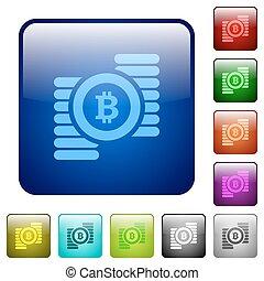 colorare, bitcoins, quadrato, bottoni