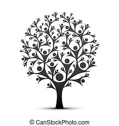 colorare, black., albero, persone, segno