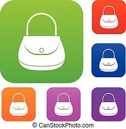 colorare, borsa, donna, set, collezione
