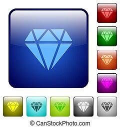 colorare, bottoni, diamante, quadrato