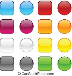 colorare, bottoni, vettore, white.