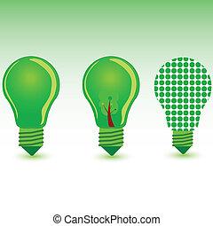 colorare, bulbo, vettore, verde, illustrazione