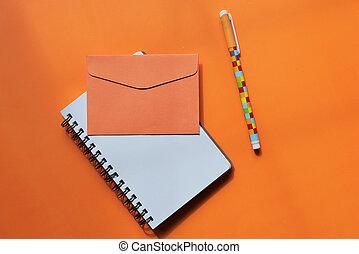 colorare, busta, cima, penna, vista, blocco note, arancia