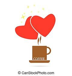 colorare, caffè, vettore, amore