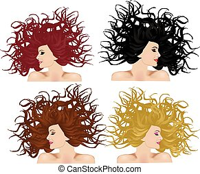 colorare, capelli, differente, donna, set