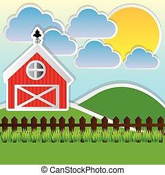 colorare, carino, fattoria, paesaggio, campo