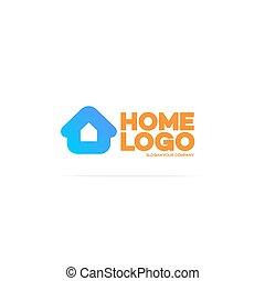 colorare, casa, logotipo, cyan