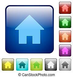 colorare, casa, quadrato, bottoni