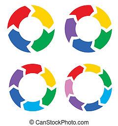colorare, cerchio, frecce, set, vettore