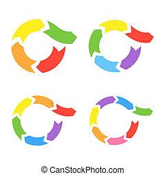 colorare, cerchio, vettore, frecce, set.