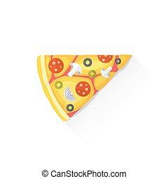 colorare, cibo, pizza, digiuno, illustrazione, pezzo, icona