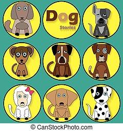 colorare, circle., giallo, cartone animato, cane