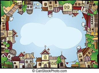 colorare, città, costruzione, bordo, cartone animato